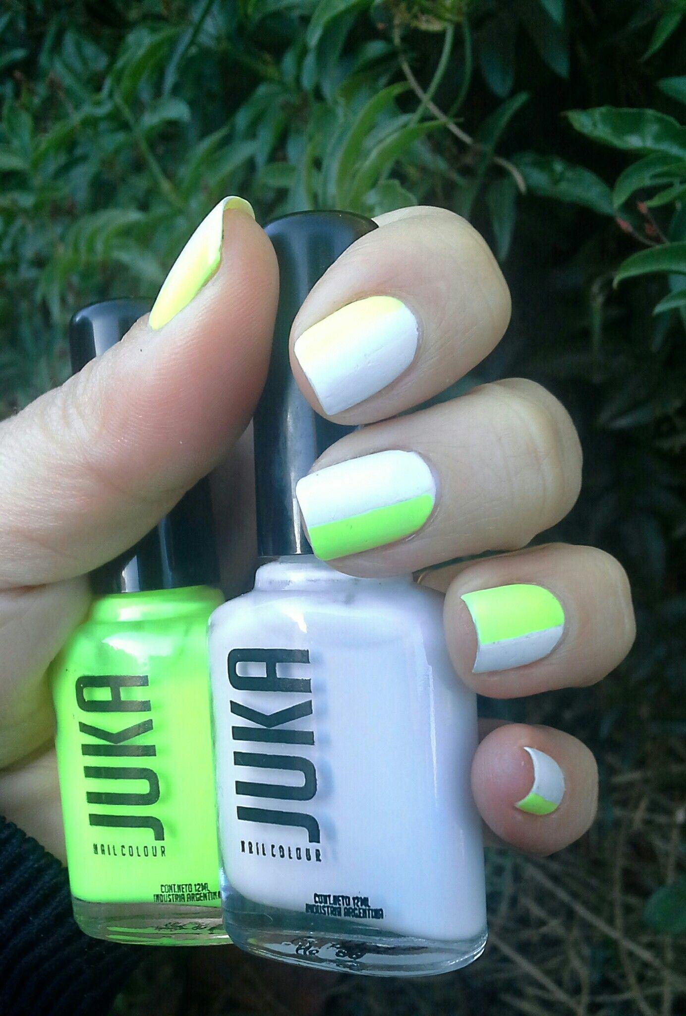 Neón nails. Juka. Hot yellow y ultra white | Mis uñas | Pinterest