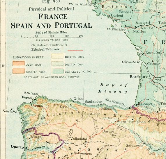 S France Map Print Spain Map Portugal Map By EleanorsVintage - Portugal map to print
