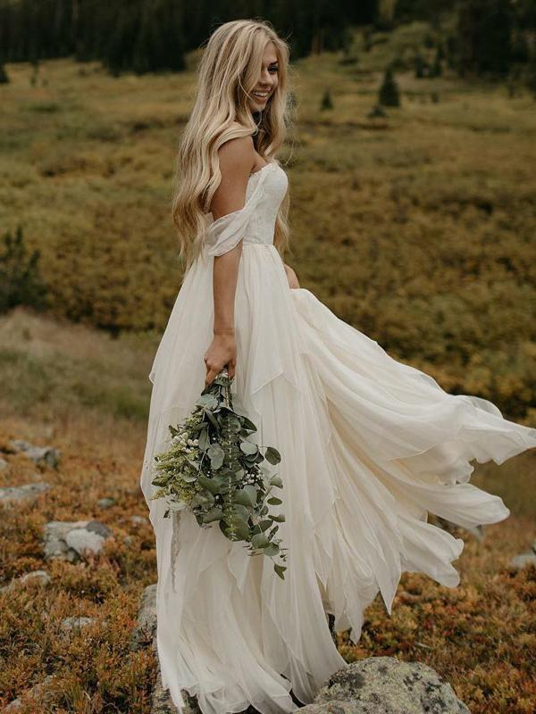 Simple A Line Off Shoulder Chiffon Long Wedding Dresses With Lace Vpwd335 The Wedding Dresses Are Fu Outdoor Wedding Dress Wedding Dresses Ruched Wedding Dress