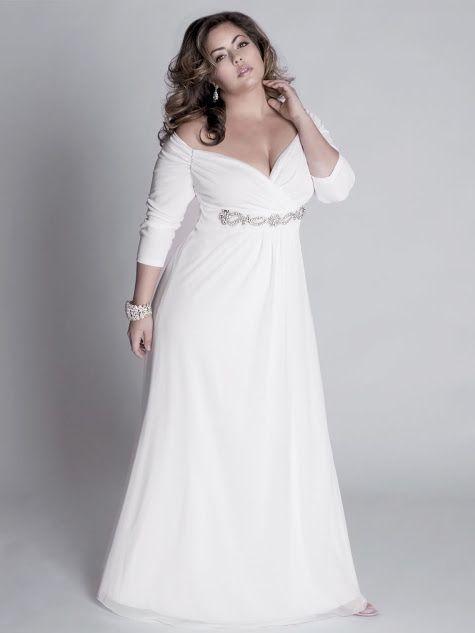 Elegant Sweetheart Long Sleeves White Plus Size Wedding ...