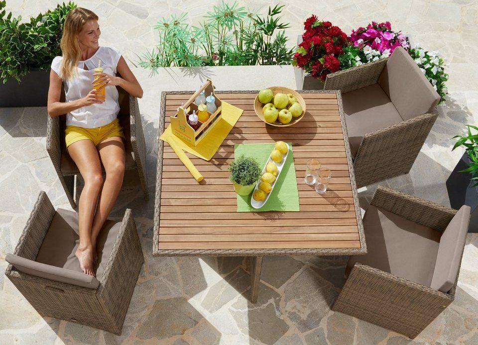 Merxx Gartenmobelset Verona Wicker 9 Tlg 4 Sessel Tisch