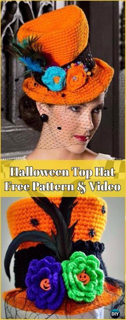 Crochet Halloween Top Hat Free Pattern & Video - Crochet Halloween ...