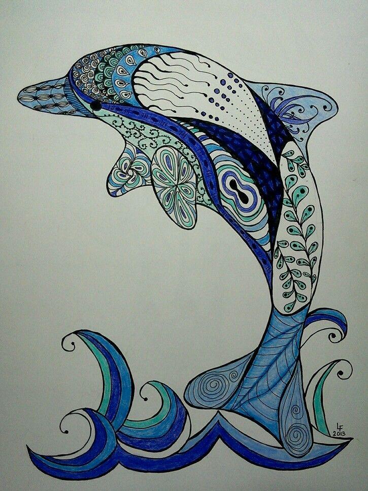 Zentangle Dolphin - pen & colored pencil