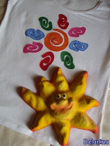 Camiseta sol abstracto patchwork