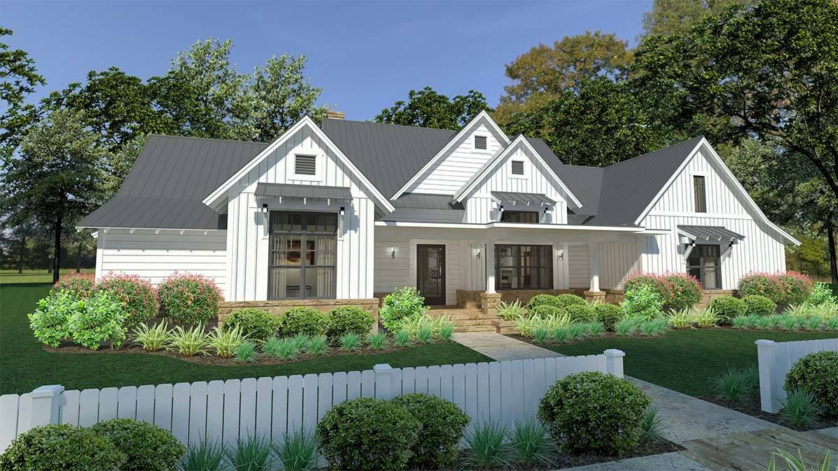 Plan 16900wg Modern Farmhouse With Split Bedroom Layout And Outdoor Fireplace Craftsman Style House Plans Modern Farmhouse Plans Modern Farmhouse Exterior