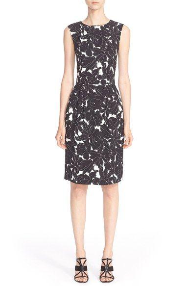 Oscar de la RentaFloral Print StretchSilk Dress $1,073.98  #Reviews #prett #ClothingDesigner