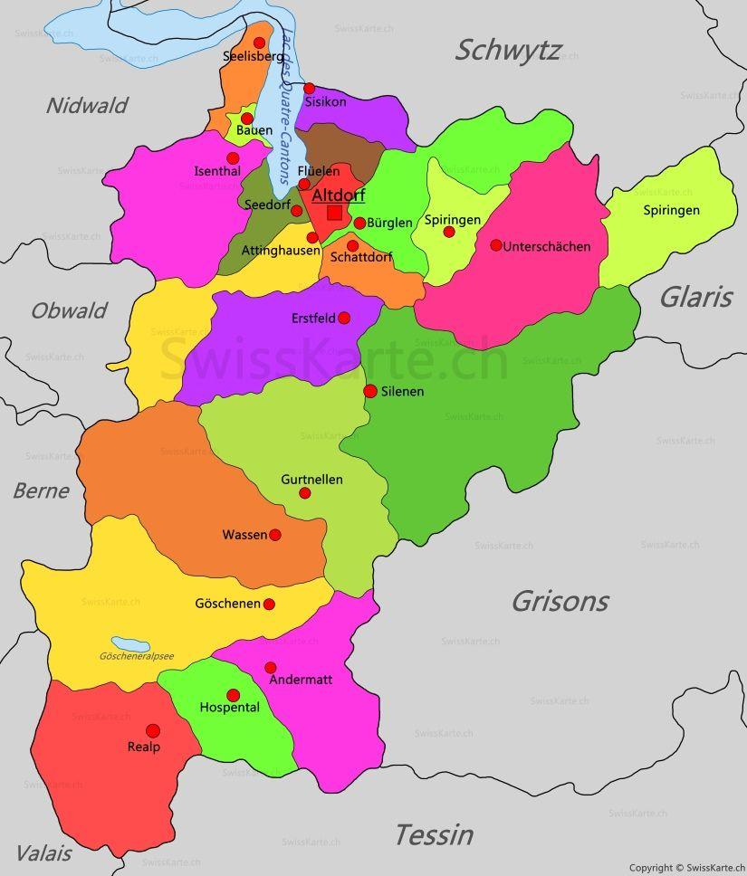 Carte du canton dUri map karte carte mappa Pinterest Switzerland