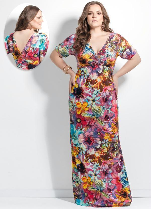 6989b8185 Vestido Longo Maxi Floral Decote V Plus Size - Posthaus