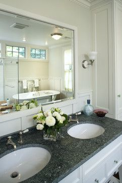 Wainscoting Behind Vanity And Mirror Frame Bathroom Bathroom Wainscoting Design Pictures Remode Bathroom Mirror White Bathroom Mirror Framed Bathroom Mirror