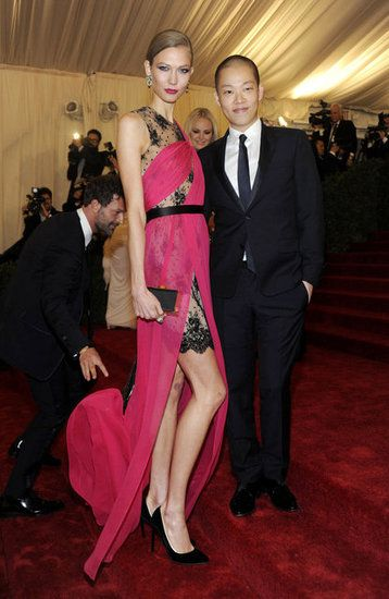 Karlie Kloss  Karlie Kloss showed off her long stems in a pink and black lace dress from Jason Wu.