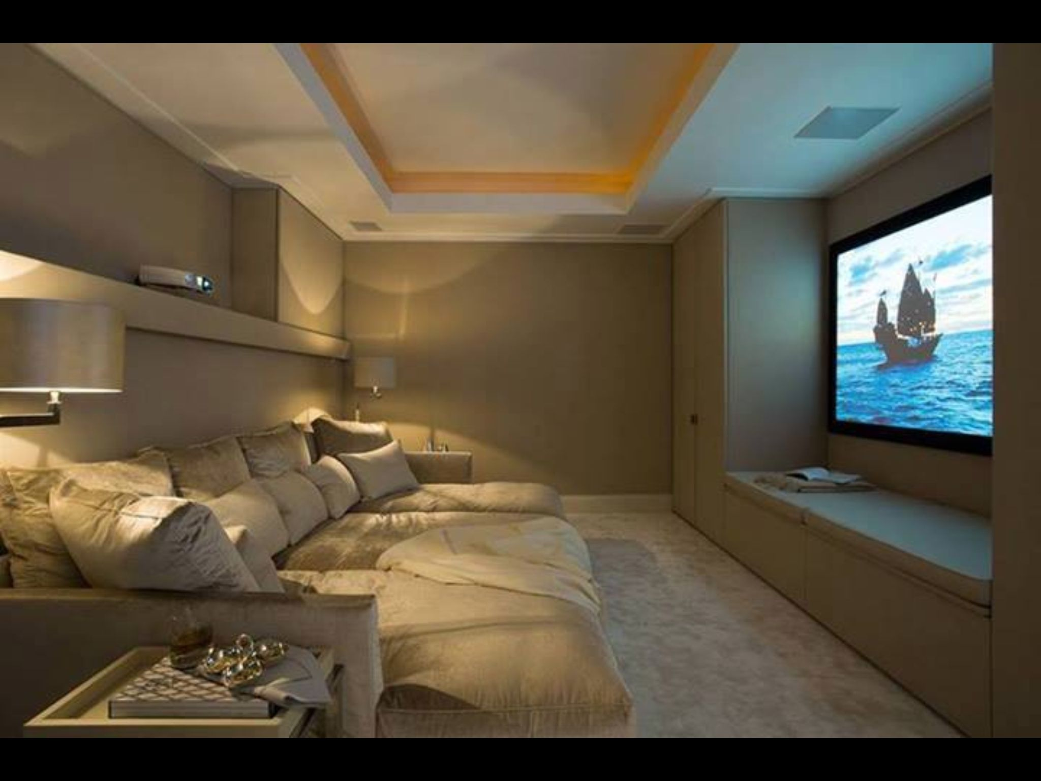 A Nice And Cozy Home Theater Room I Would Also Hang