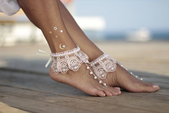 627adf507 Dance of the pearls with blush pink frilly guipure/lace beach wedding  barefoot…