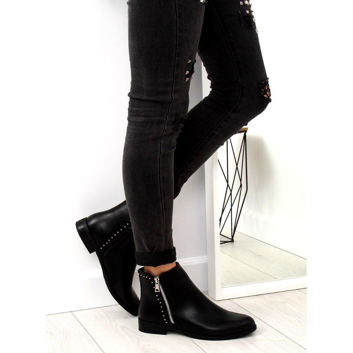 Botki Sztyblety Damskie Czarne 0 257 Black Fashion Shoes Ankle Boot
