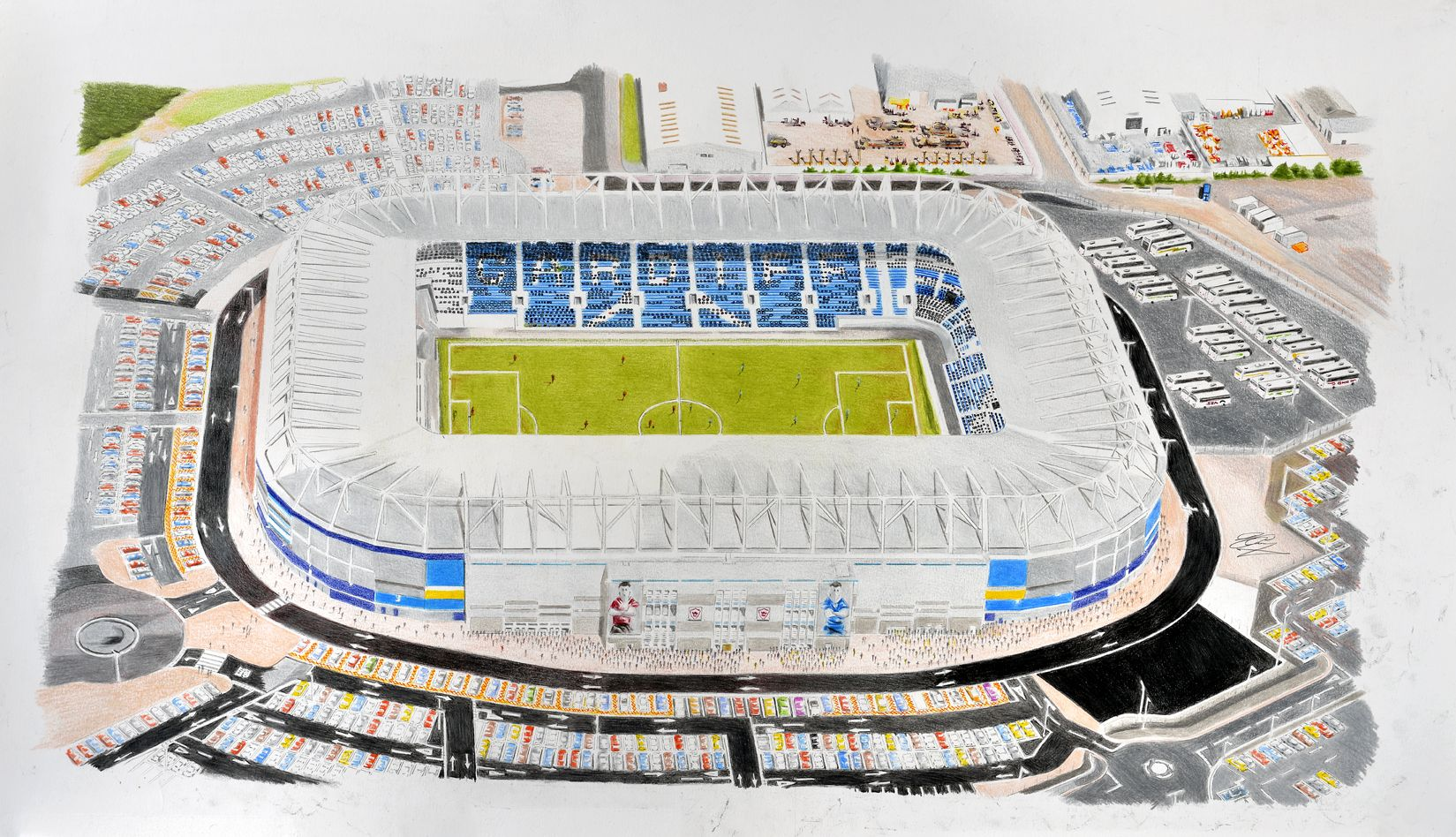 Cardiff City Stadium Art (Cardiff City FC) @ www.sportsstadiaart.com ...