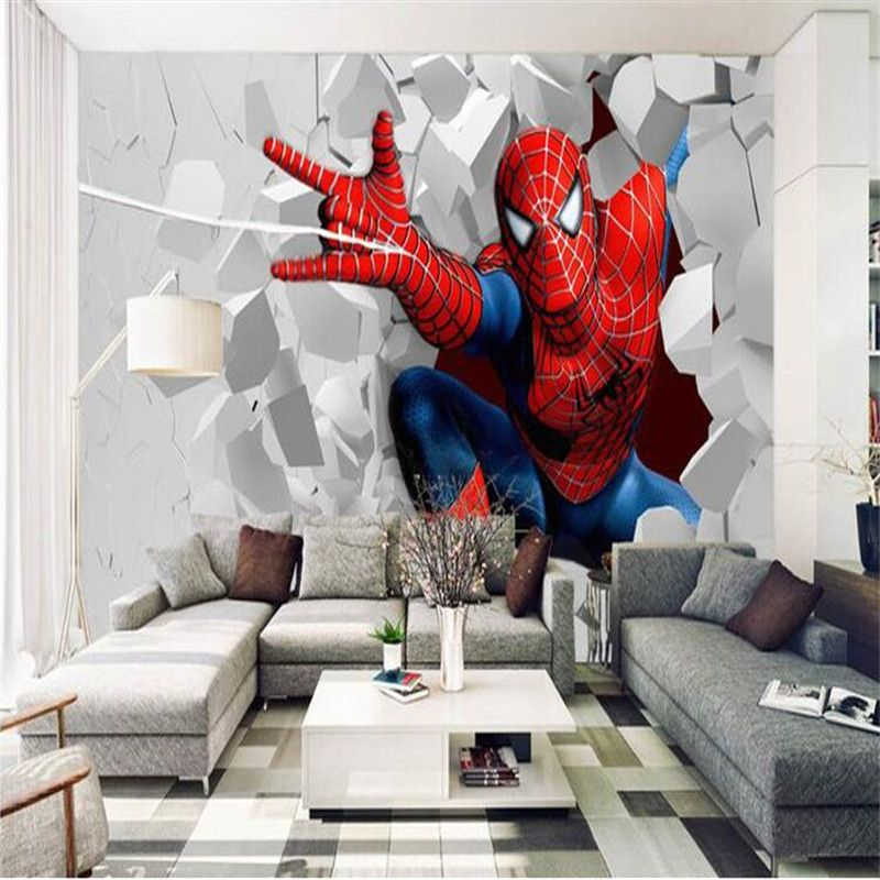 Photo Wallpaper 3d Painting Cartoon Child Living Room Bedroom Backdrop Dynamic Spider Man Large Wall Mur Kids Room Wallpaper Large Wall Murals Rooms Home Decor