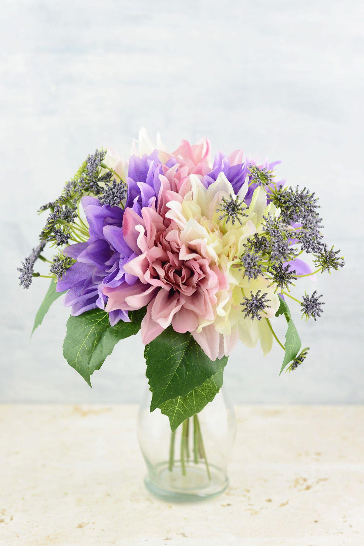 Pink Lavender Cream Dahlia Wedding Bouquet 12 Hand Wrapped