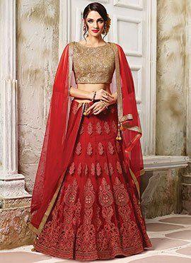 1e5b3044b1 Red Net Umbrella Lehenga Choli   Styles   Bridal lehenga choli ...