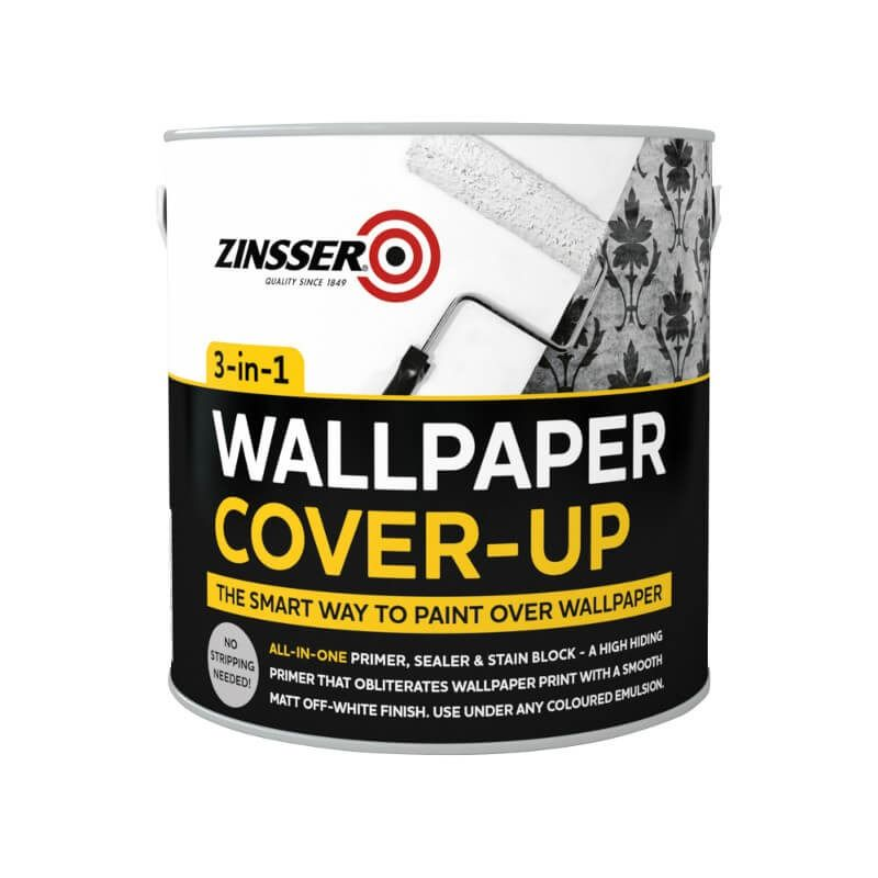 Zinsser Wallpaper Cover Up White Matt Specially Designed To Do Exactly What It Says Easily C Painting Over Wallpaper Wallpaper Over Wallpaper Cover Wallpaper