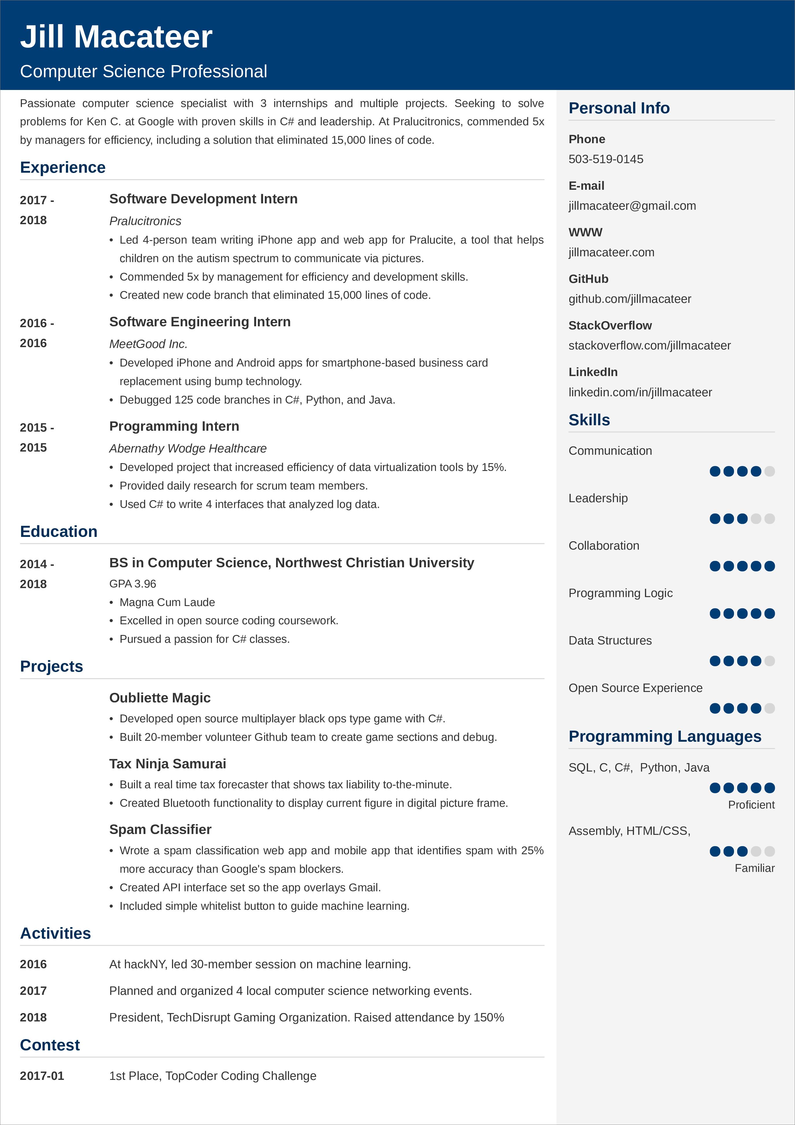 Example Resume English Student