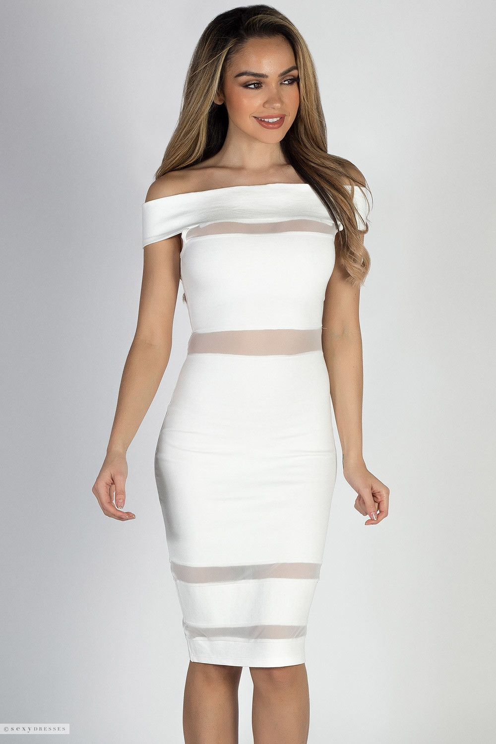 4c361f54cc56 Off Shoulder White Midi Cocktail Dress with Sheer Mesh Cut Outs