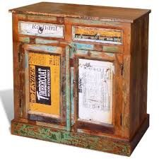Antik Teak Massivholz Kommode Sideboard Schrank Vintage Anrichte Retro 2  Türen #