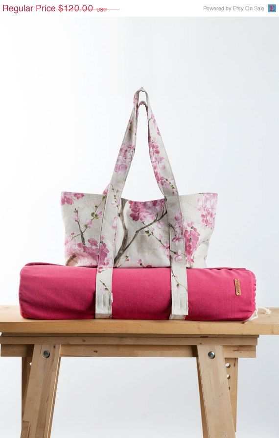 Spring Sale Set of two Pink Yoga Mat Bag Sakura por KlothoBags 92 ...