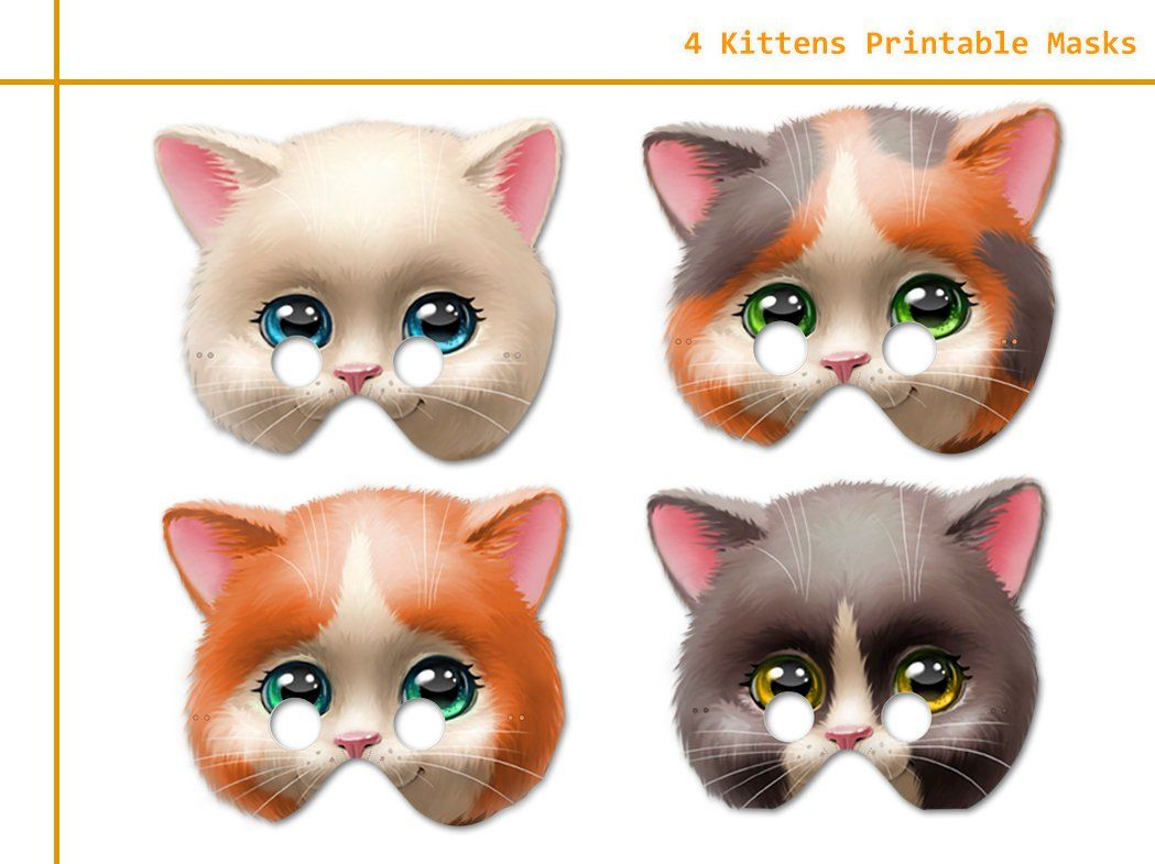 Unique 4 Kittens Printable Masks Kittens Photo Booth Kittens Etsy Kitten Photos Kitten Birthday Kitten Party