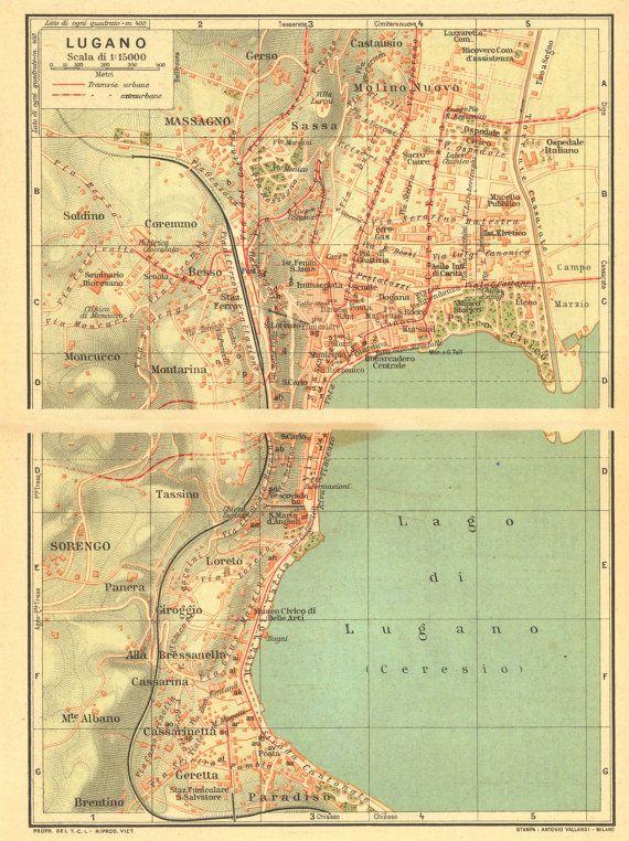 1930 Lugano City Map and Environs Street Plan Switzerland Lake