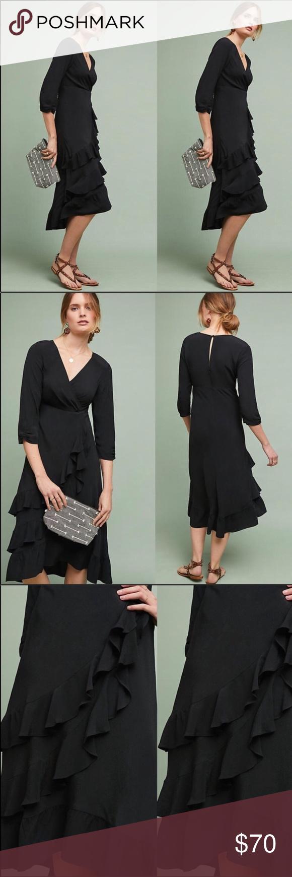 Anthropologie Maeve Ruffled Midi Dress Midi Ruffle Dress Black Long Sleeve Dress Long Sleeve Dress [ 1740 x 580 Pixel ]