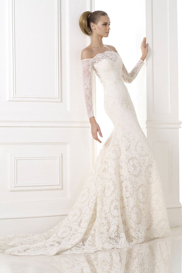 Custom Long Sleeve Lace Wedding Dresses Off Shoulder Ivory Bridal Gowns