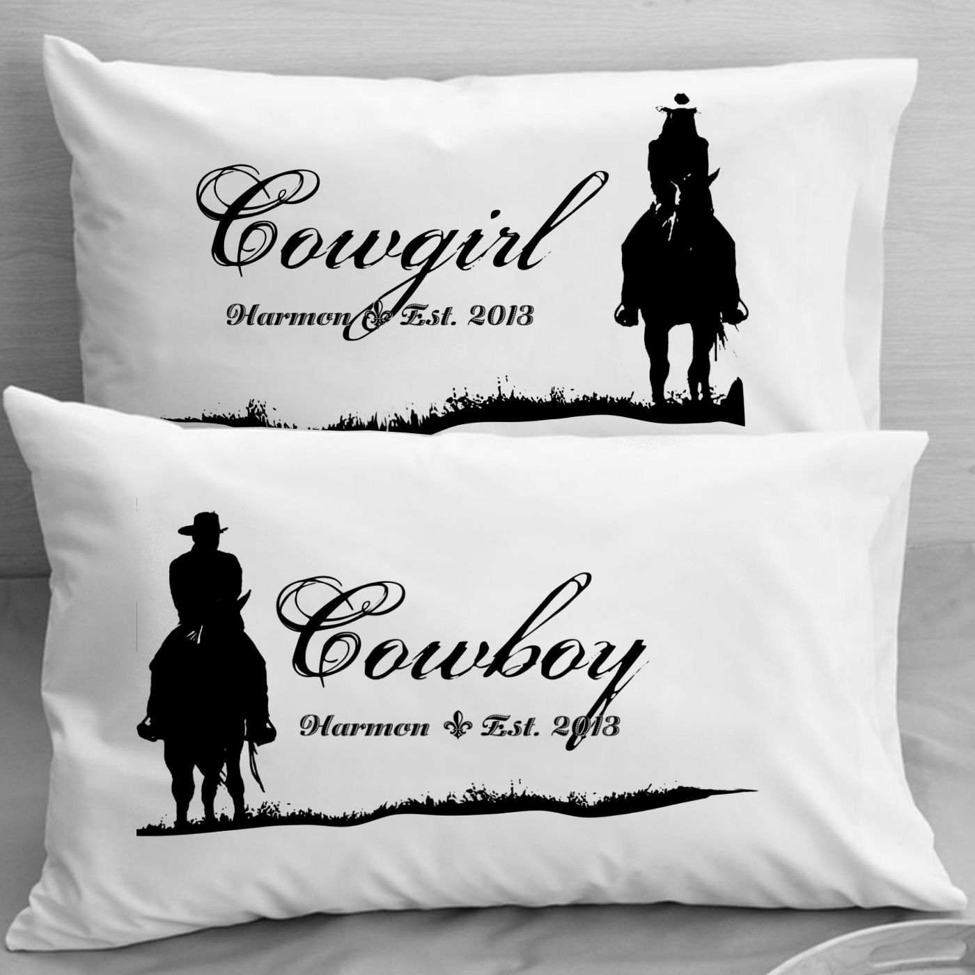 Personalized cowboy cowgirl pillow cases pillowcases wife husband