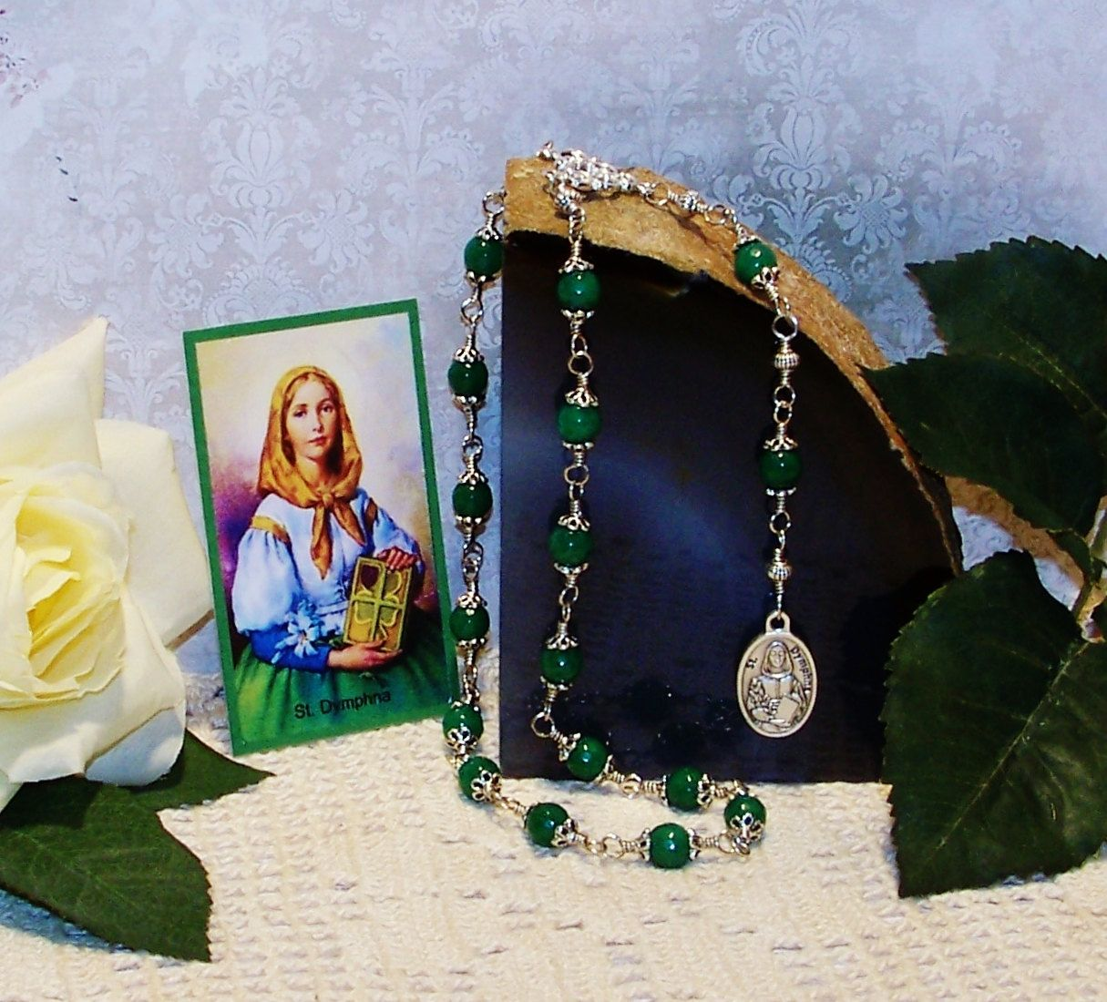 Unbreakable Traditional Relic Chaplet of St. Dymphna - Patron Saint of Epileptics, Therapists, Rape Victims and People w/ Nervous Disorders by foodforthesoul on Etsy