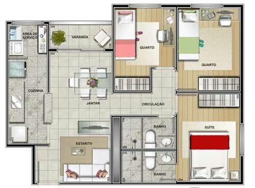 Pinterest claudiagabg apartamento 3 cuartos for Planos de casas pequenas y bonitas