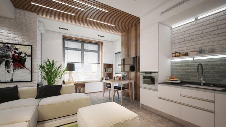 lambris bois, table d\u0027appoint en bois massif et meubles de cuisine