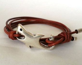 Shark Bracelet Leather For Men Whale Tail Surfer Hook Clasp Nautical Wrap