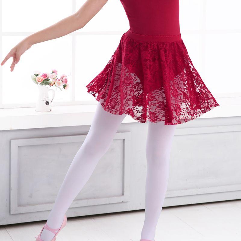 Girls Kids Ballet Dance Skirts Black Floral Lace Pettiskirt Elastic Waist Half Ballet Dress
