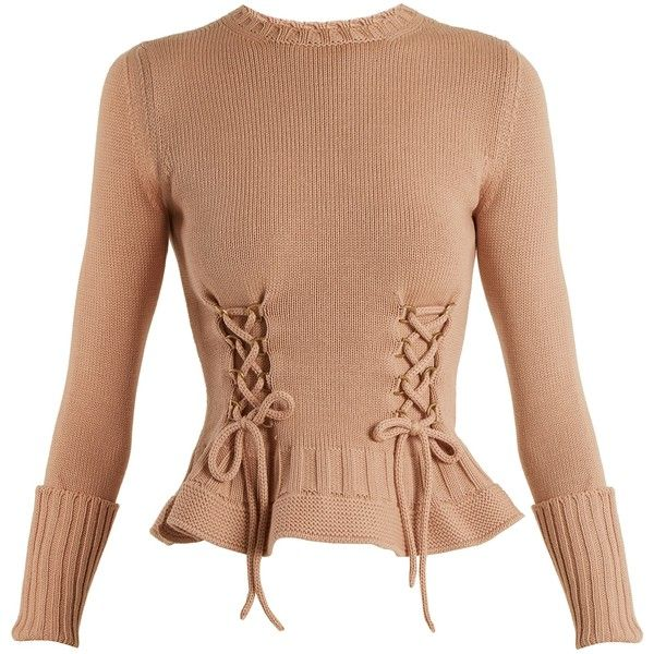 Alexander McQueen Lace-up fluted-hem wool-knit sweater (€1.165) ❤ liked on Polyvore featuring tops, sweaters, shirts, wool sweaters, layering shirts, pink shirt, knit sweater and tailored shirts