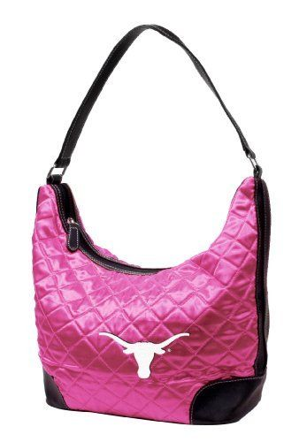 """NCAA Texas, University of Pink Quilted Hobo by Little Earth. $20.11. Littlearth's Quilted Collection is the perfect bag for the astute Sports Fan.  This Quilted Hobo measures 10"""" Length x 5"""" Width x 8.5"""" Height and has an 8.5"""" drop length faux leather handle.  This Hobo features rich satin-like quilting sure to catch the eye of passersby.  Displays embroidered appliqué of favorite team logo in bottom front right of bag.  Zipper closure at top of bag keeps belongings s..."""
