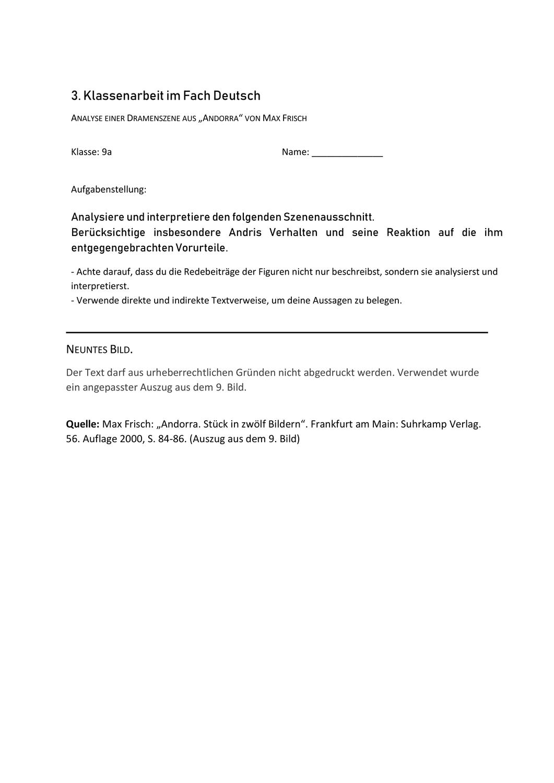 Klassenarbeit Zu Andorra Szenenanalyse 9 Bild Unterrichtsmaterial Im Fach Deutsch In 2020 Klassenarbeiten Erste Klasse Aufgabenstellung