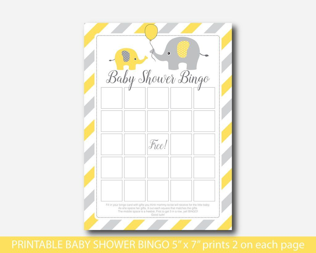 Elephant baby shower bingo cards in yellow and grey, Yellow bingo cards,  Blank bingo cards, Elep… | Bingo cha de bebe, Chá de bebê elefante, Chá de  bebe elefantinho