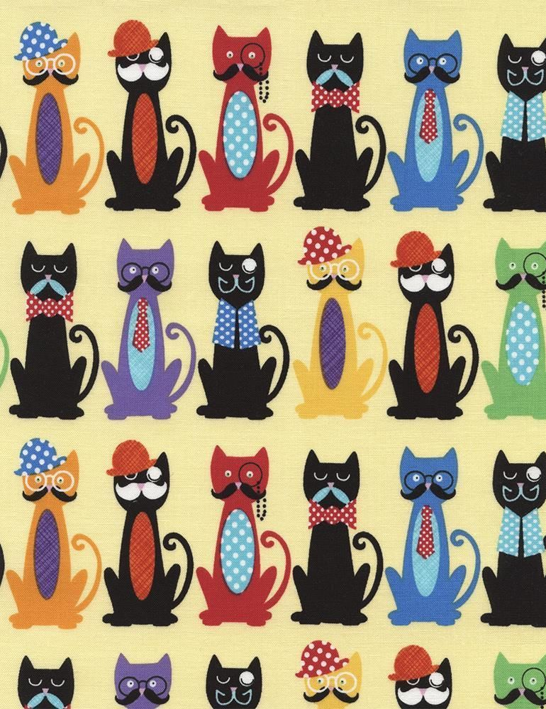 Cats with Moustaches Bow Tie Hat Cartoon Kitty Timeless Treasures ...