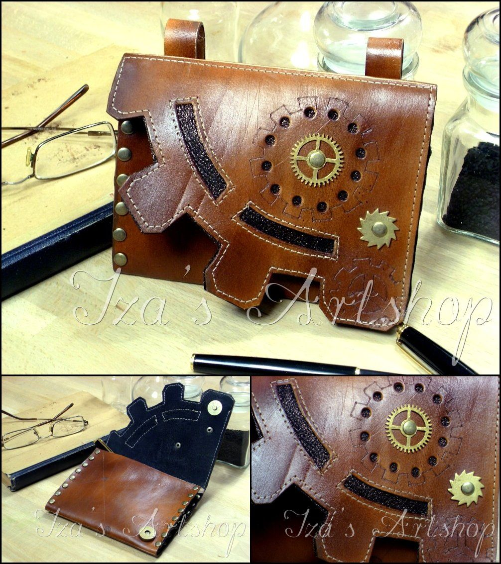 Steampunk Leather Belt Bag by izasartshop.deviantart.com