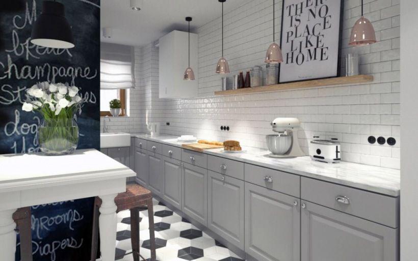 Zdjecie Szara Kuchnia W Skandynawskim Stylu Kitchen Inspirations Kitchen Kitchen Design