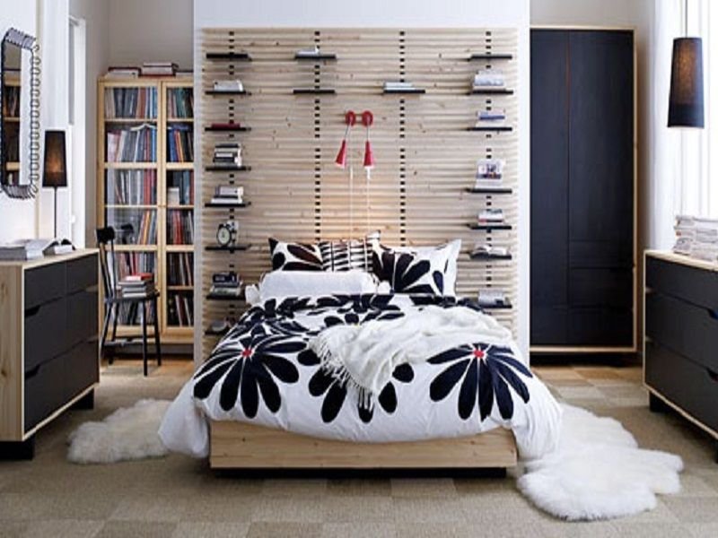 white and black bedroom with ikea mandal bed - Design Bedroom Ikea