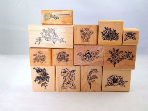 Rubber-Stamp-Mixed-Flower-Lot-Wood-Mount-Roses-Pansies-Morning-Glory-Daffodils