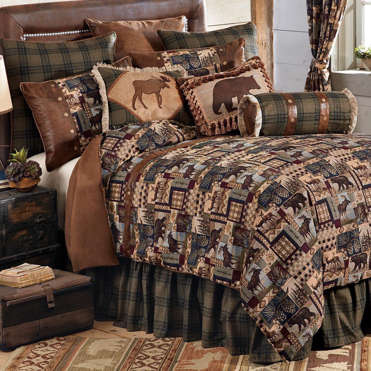 Woodland Cabin Bed Set Queen Rustic bedding sets