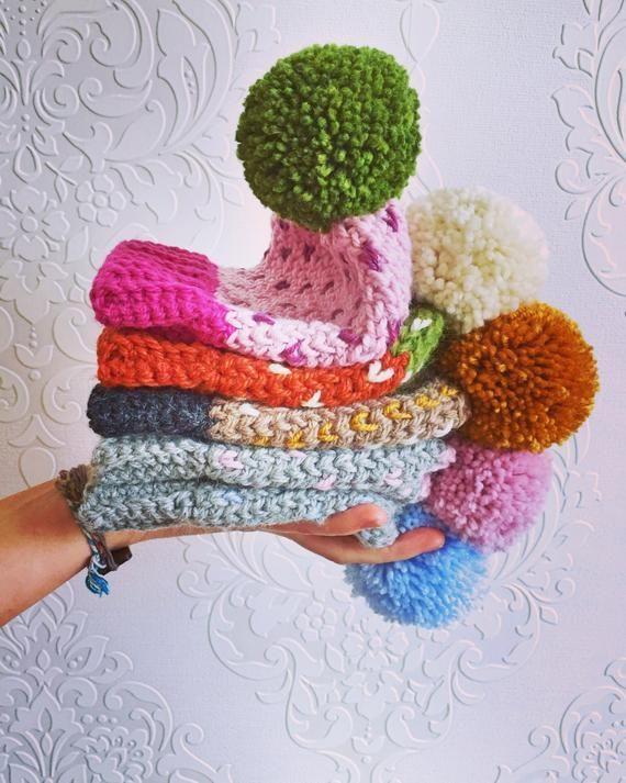 READY TO SHIP - Newborn crochet winter hats - newborn pom pom hats - boys & girls winter hats - baby #premiebabyhats READY TO SHIP - Newborn crochet winter hats - newborn pom pom hats - boys & girls winter hats - baby #premiebabyhats
