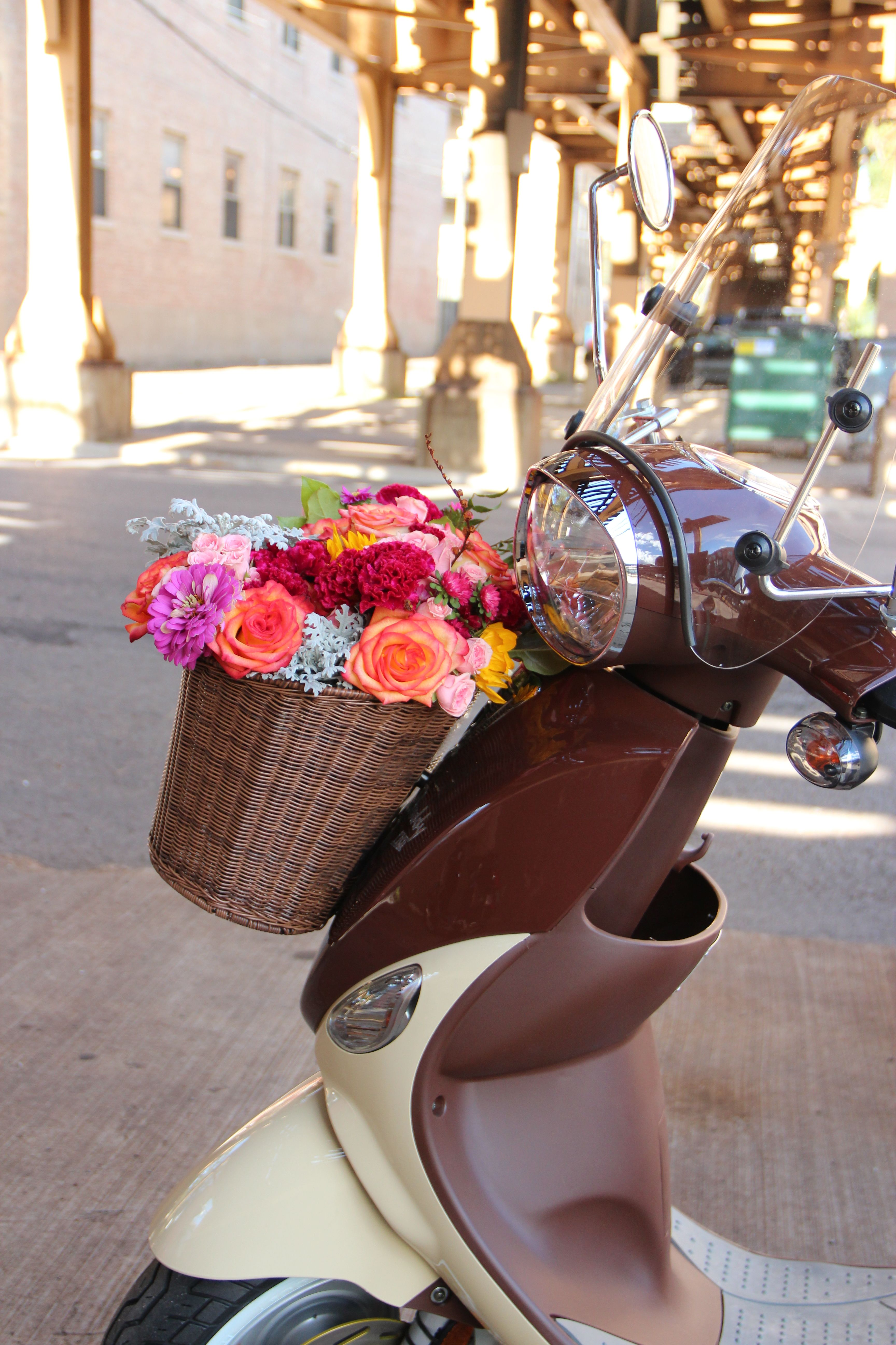 adf3f3375a3 Dress up your  Buddy scooter with a pretty flower basket.