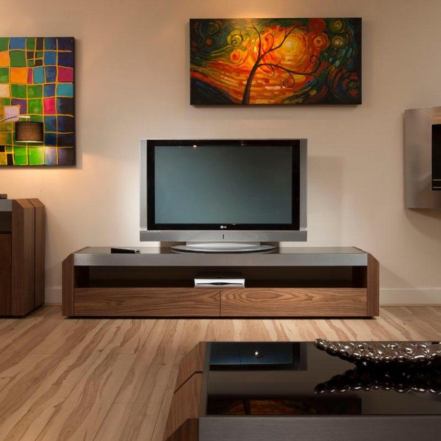 TV/Television Cabinet/Cabinets/Unit Walnut With Black Glass Top