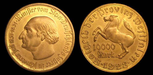 F- 645.7b Westfalen (German) 10000 Mark Notgeld Coin Depicting Baron Heinrich Friedrich Karl Von Stein